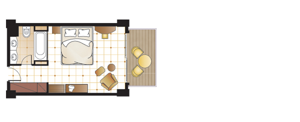 Panoramic guestroom, floorplan