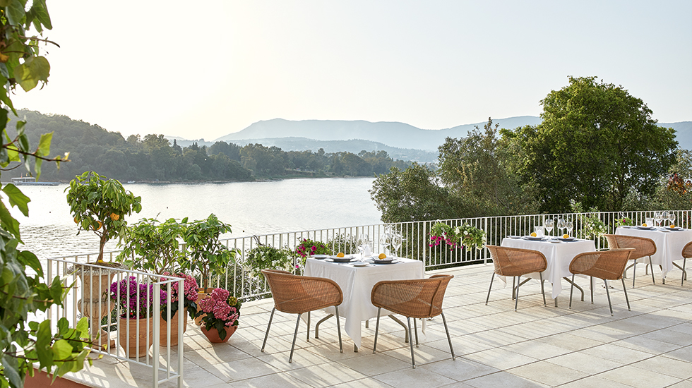 Rooftop Dining in corfu at Eva palace luxury resort