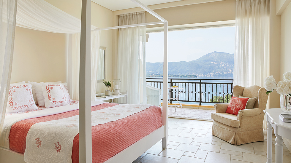 Sea view guestrooms in Corfu Eva Palace
